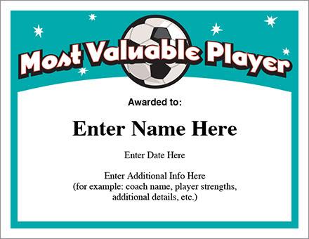 Mvp Soccer Certificate Template - Free Award Certificates regarding Mvp Certificate Template