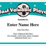 Mvp Soccer Certificate Template - Free Award Certificates with regard to Best Soccer Mvp Certificate Template