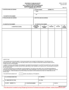Nafta Certificate Of Origin (English) Intended For Nafta for Fresh Nafta Certificate Template
