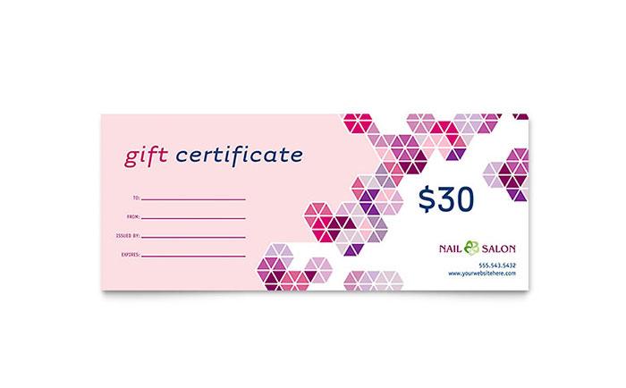 Nail Salon Gift Certificate Template Design within Unique Beauty Salon Gift Certificate