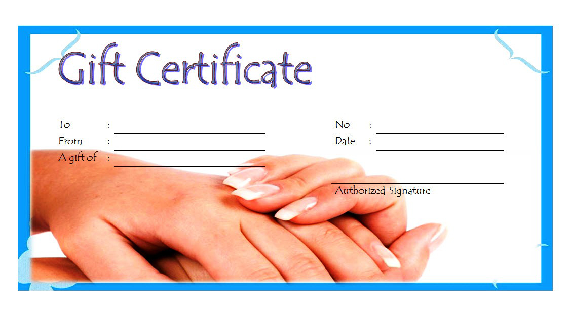 Nail Salon Gift Certificate Template Free Printable 4 | Gift Intended For Fresh Free Printable Manicure Gift Certificate Template