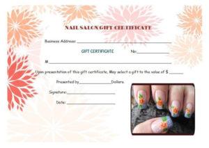 Nail Salon Gift Certificates | Certificate Templates, Gift in Nail Salon Gift Certificate Template