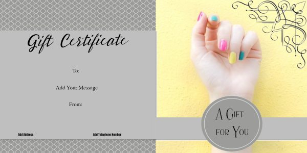 Nail Salon Gift Certificates Free Nail Salon Gift throughout Free Printable Manicure Gift Certificate Template