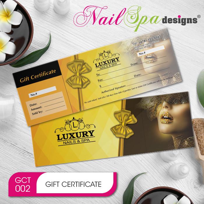 Nail Spa Gift Certificate & Envelope Nsd-Gct002 with regard to Nail Salon Gift Certificate
