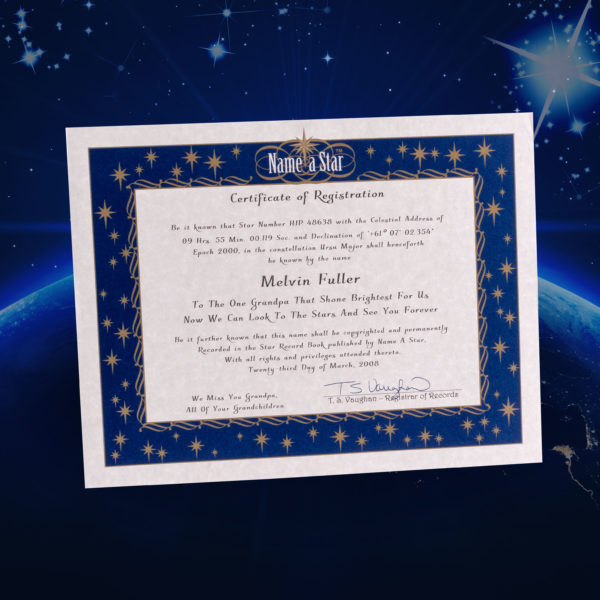 Name A Star Instant Certificate - Buy And Name A Star | Name A Star with Unique Star Naming Certificate Template