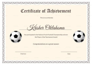 National Youth Football Certificate Template Inside Soccer with New Youth Football Certificate Templates
