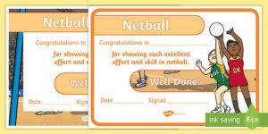 Netball Achievement Certificate (Teacher Made) throughout Quality Netball Participation Certificate Templates