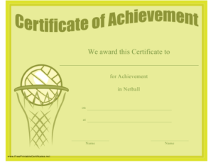 Netball Achievement Certificate Template Download Printable for Netball Achievement Certificate Editable Templates