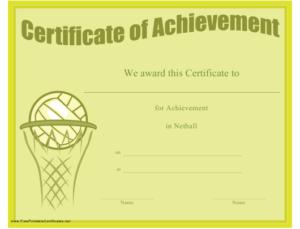 Netball Achievement Certificate Template Download Printable throughout New Netball Achievement Certificate Template