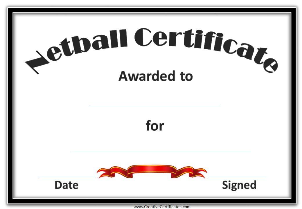 Netball Certificates | Netball, Award Template, Free with Netball Certificate