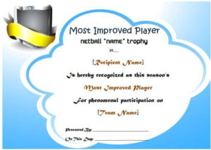 Netball Most Improved Player Award Certificate | Netball with Most Improved Player Certificate Template