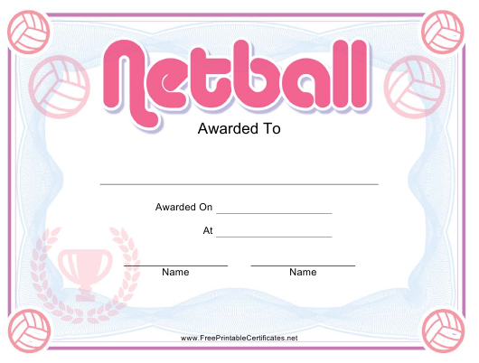 Netball Pink Certificate Template Download Printable Pdf with Netball Achievement Certificate Editable Templates