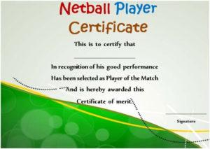 Netball Player Certificate | Certificate Templates for Best Netball Certificate