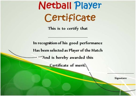Netball Player Certificate | Certificate Templates with regard to New Netball Achievement Certificate Template