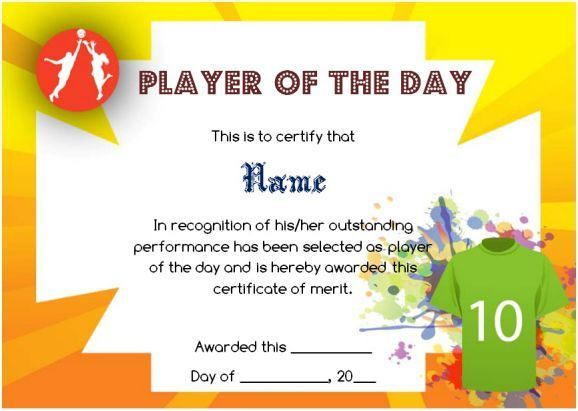Netball Player Of The Day Certificate Template | Certificate with Unique Netball Certificate Templates