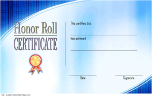 New Honor Roll Certificate Template Free 3 In 2020 for Quality Honor Roll Certificate Template Free 7 Ideas