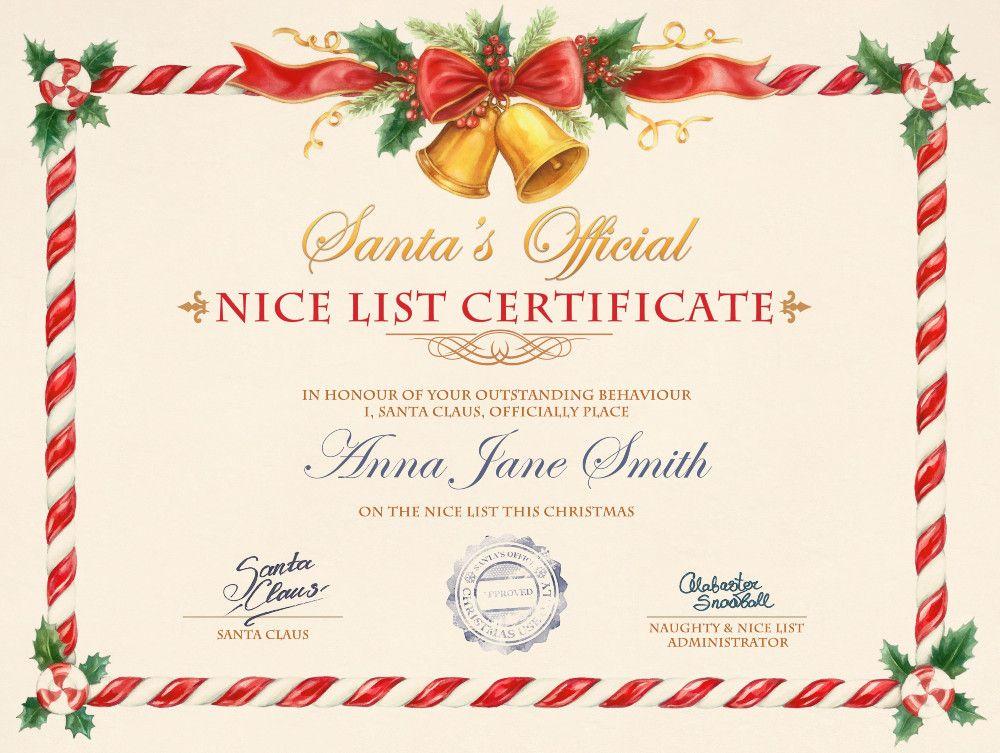Nice List Certificate - Photofunia: Free Photo Effects And within New Santas Nice List Certificate Template Free