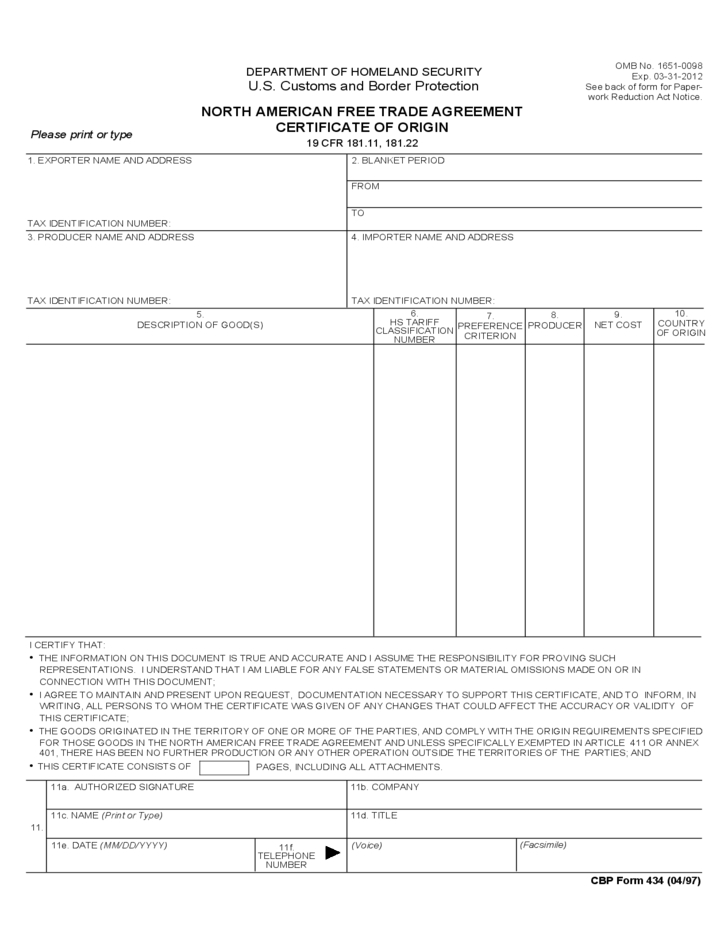 North American Free Trade Agreement Certificate Of Origin within Unique Certificate Of Origin Template Ideas Free