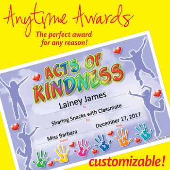 Nsd6053 Acts Of Kindness Editable Anytime Award Certificates intended for Unique Certificate Of Kindness Template Editable Free
