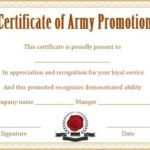 Officer Promotion Certificate Template | Certificate within Officer Promotion Certificate Template