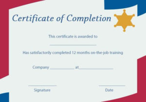 On The Job Training Certificate Of Completion Template throughout Training Completion Certificate Template