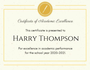 Online Academic Excellence Certificate Template | Fotor Intended For Academic Excellence Certificate