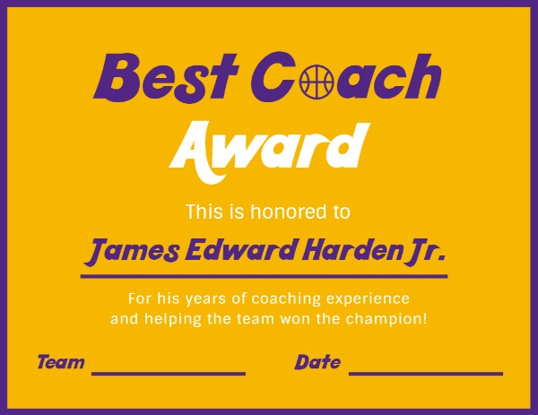 Online Best Coach Award Certificate Template   Fotor Design intended for Best Coach Certificate Template