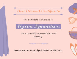 Online Best Dressed Certificate Certificate Template | Fotor intended for New Best Dressed Certificate Templates