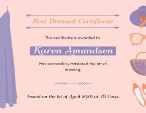 Online Best Dressed Certificate Certificate Template | Fotor regarding Fresh Best Dressed Certificate