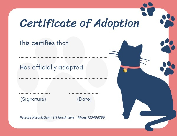 Online Certificate Of Adoption Certificate Template | Fotor Within Cat Adoption Certificate Templates