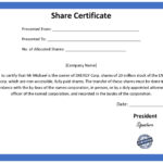 Ordinary Share Certificate Template Intended For Shareholding Certificate Template