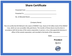 Ordinary Share Certificate Template Throughout Corporate Share Certificate Template