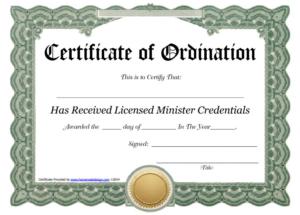 Ordination Certificate Templates (1) – Templates Example intended for Certificate Of Ordination Template