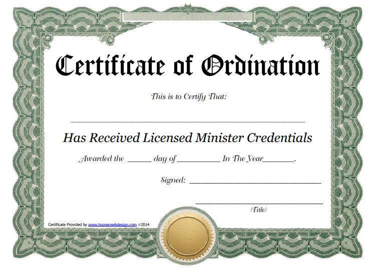Ordination Certificate Templates (1) - Templates Example intended for Certificate Of Ordination Template