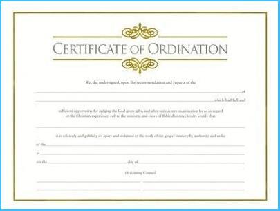 Ordination Certificate Templates (5) - Templates Example regarding Certificate Of Ordination Template