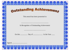 Outstanding Achievement Certificate Template Free Printable for Outstanding Achievement Certificate