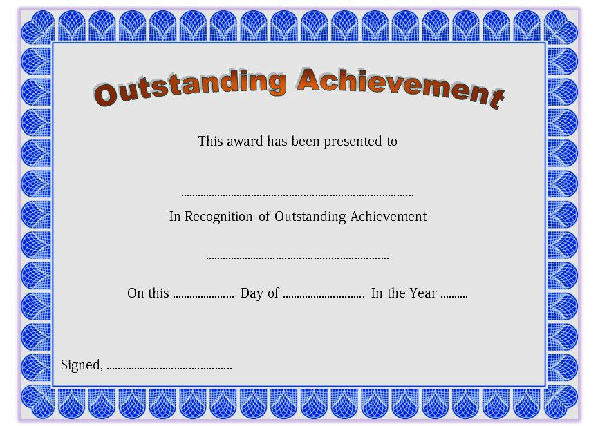 Outstanding Achievement Certificate Template Free Printable for Outstanding Achievement Certificate