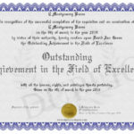 Outstanding Achievement In The Field Of Excellence With Outstanding Achievement Certificate