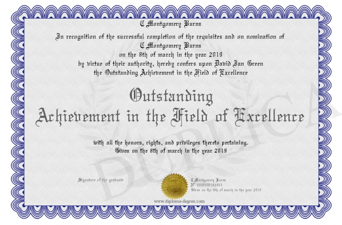 Outstanding-Achievement-In-The-Field-Of-Excellence with Outstanding Achievement Certificate
