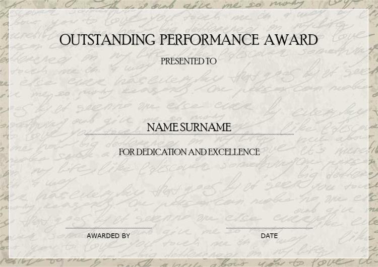 Outstanding Performance Award   Mydraw regarding Fresh Outstanding Performance Certificate Template