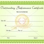 Outstanding Performance Certificate Green Business In Best Best Performance Certificate Template