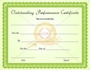 Outstanding-Performance-Certificate-Green-Business in Best Best Performance Certificate Template