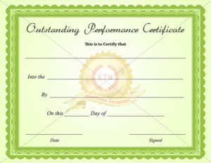 Outstanding-Performance-Certificate-Green-Business with regard to Outstanding Performance Certificate Template