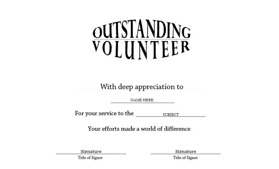 Outstanding Volunteer Certificate Landscape Free Templates throughout Outstanding Volunteer Certificate Template