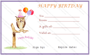 Owl Birthday Gift Certificate Template – Gift Certificates for Quality Birthday Gift Certificate