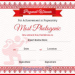 Pageant Most Photogenic Achievement Certificate Sample In Pertaining To Unique Pageant Certificate Template