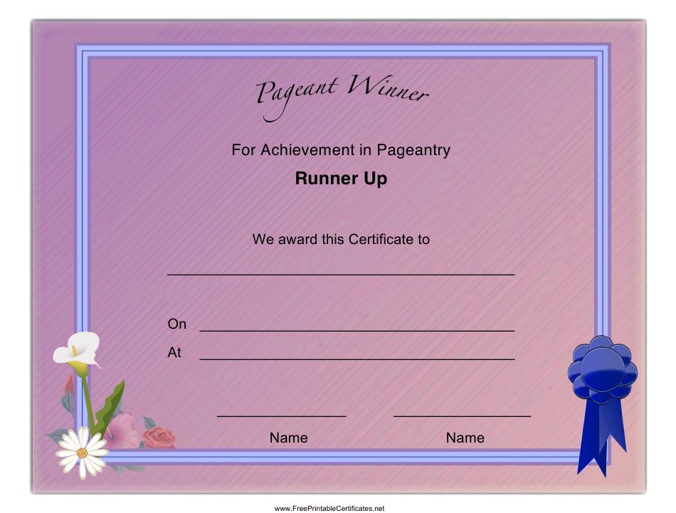 Pageant Runner Up Achievement Certificate Template Download regarding Unique Pageant Certificate Template