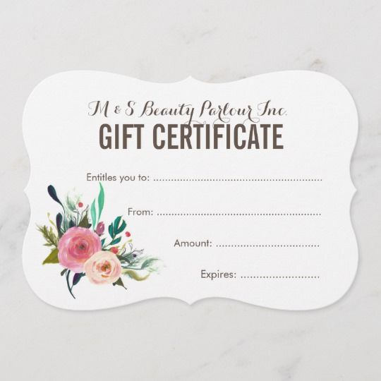 Painted Floral Salon Gift Certificate Template | Zazzle with Quality Free Printable Beauty Salon Gift Certificate Templates