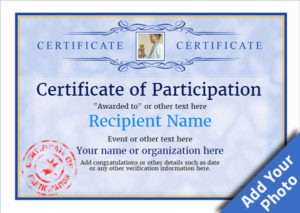 Participation Certificate Templates – Free, Printable, Add for Best Sample Certificate Of Participation Template