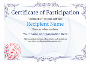 Participation Certificate Templates – Free, Printable, Add for Certificate Of Participation Template Ppt